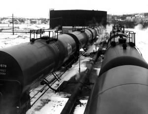 Irving Oil Tank Cars Unloading into the Oil Storage Tanks of the Edmundston Fraser Mill