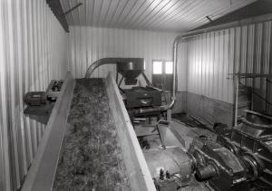 Souffleur à copeaux à l'usine de sciage Fraser de Kedgwick