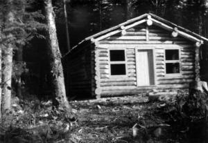 Petit camp en bois rond for Camp en bois rond