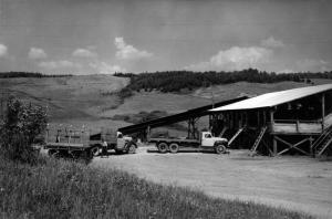 Des camions de bois au moulin Davis de Rivière-Verte