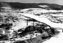 Vue aérienne de l'usine Fraser de Madawaska, Maine en hiver