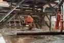 Bassin d'eau chaude à l'usine de sciage Fraser de Plaster Rock