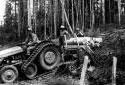 Tracteur tirant des billes de 4 pieds écorcées dans la région de Plaster Rock