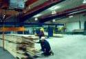 Entrepôt dans l'atelier de rabotage de la scierie Fraser de Plaster Rock
